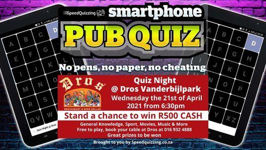 Quiz Night @ Dros Vanderbijlpark, 21 April   Event in Vanderbijlpark   AllEvents.in