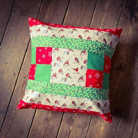Beginners Christmas Patchwork Cushion