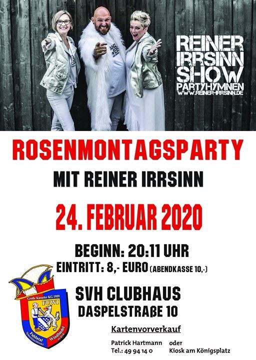 Rosenmontagsparty mit Reiner Irrsinn