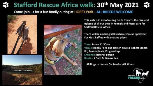 Stafford Rescue Africa walk, 30 May | Event in Krugersdorp | AllEvents.in
