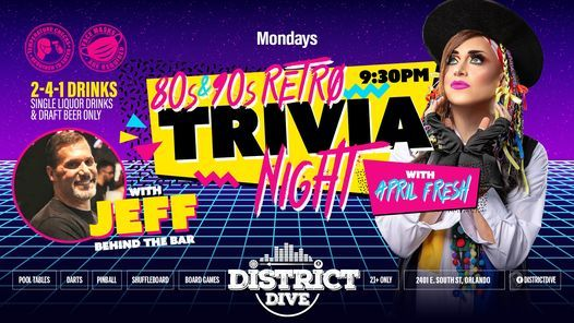 80s & 90s Retro Trivia Night w/ APRIL FRESH Every Monday at District Dive, 25 January | Event in Orlando