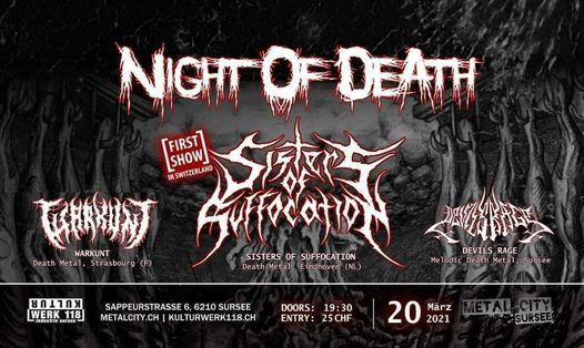 Night Of Death, Sisters of Suffocation, Devils Rage, Warkunt, 20 March | Event in Sursee | AllEvents.in