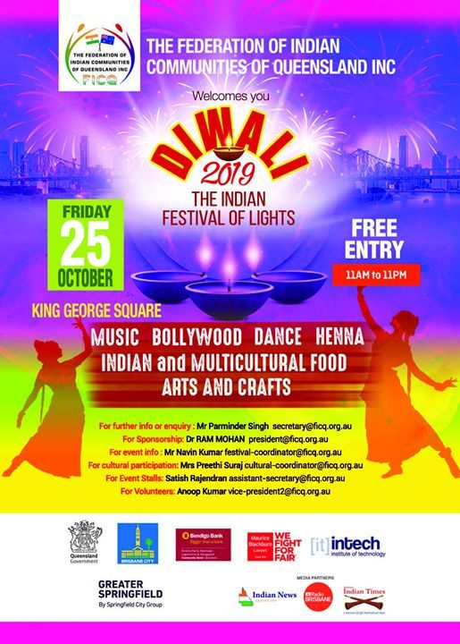 FICQ Diwali 2019 Indian Festival of Lights King George Square