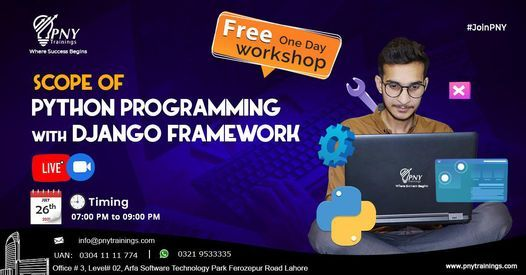Free One Day Workshop on Scope of Python Programming with Django Framework, 26 July   Event in Lahore   AllEvents.in