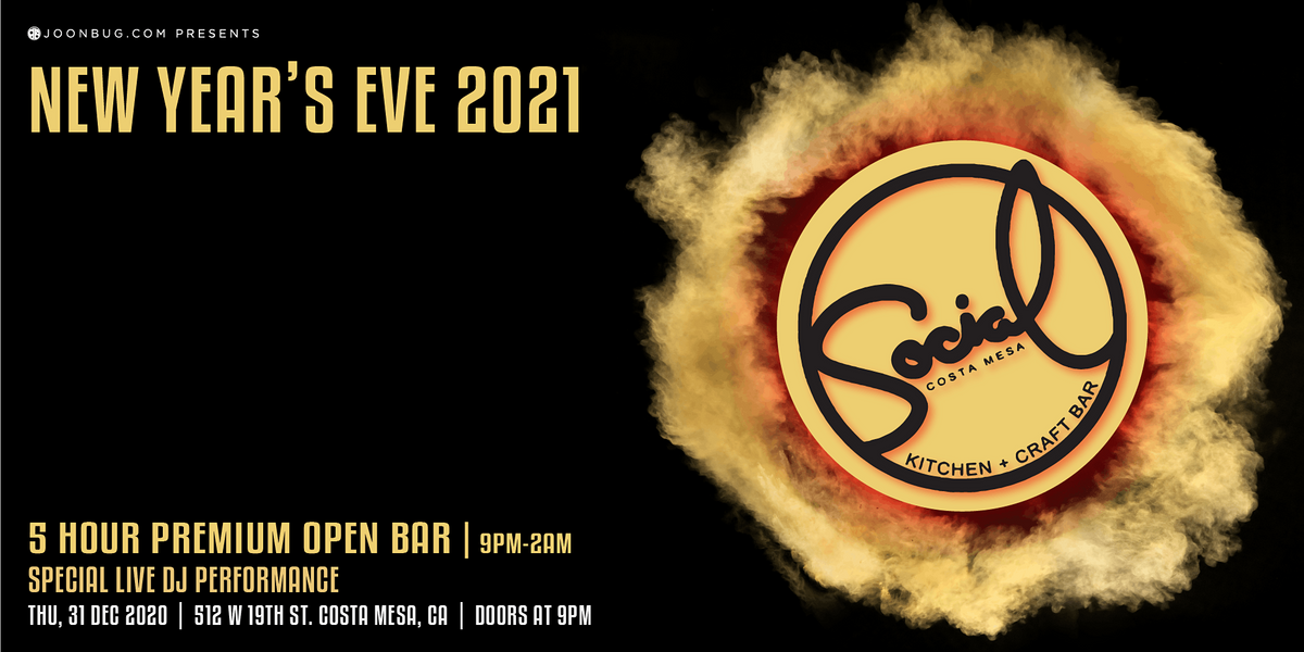 Social Costa Mesa New Years Eve Party 2021, SOCIAL Costa Mesa, 31 December to 1 January