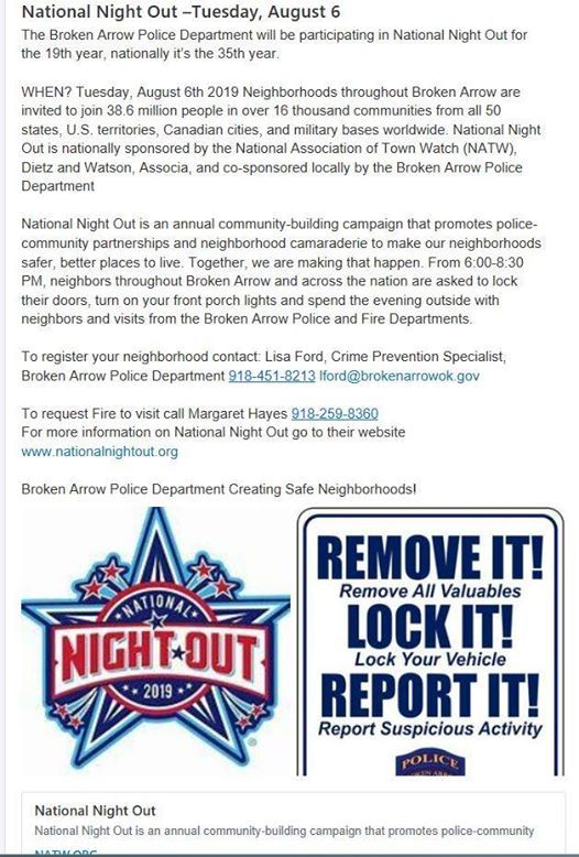 National Night Out Against Crime at Bel Lago Homeowners