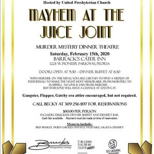 """Mder Mystery Dinner &quotMayhem at the Juice Joint"""""""
