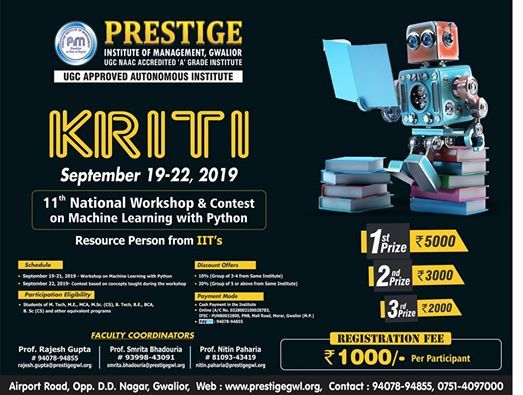 KRITI 11th National Workshop & Contest on Machine Learning with Python