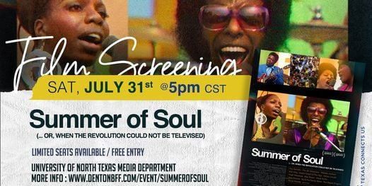 Film Screening: Questlove's Summer of Soul, 31 July   Event in Denton   AllEvents.in