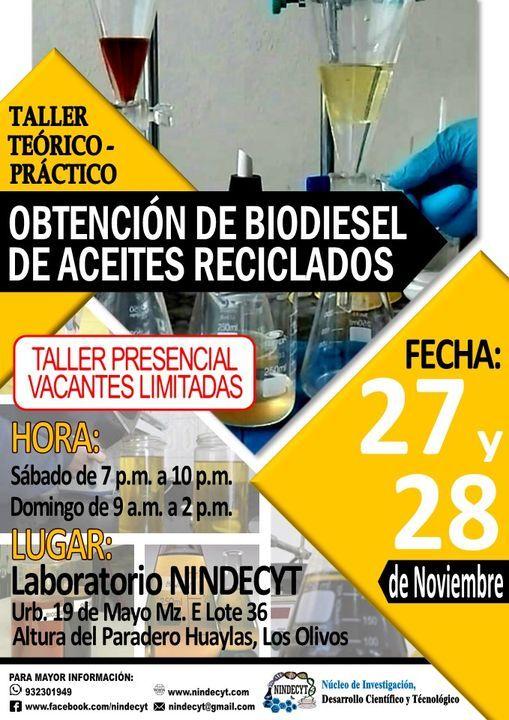Taller Práctico: Obtención de Biodiesel de Aceites Reciclados, 31 July | Event in Lima | AllEvents.in