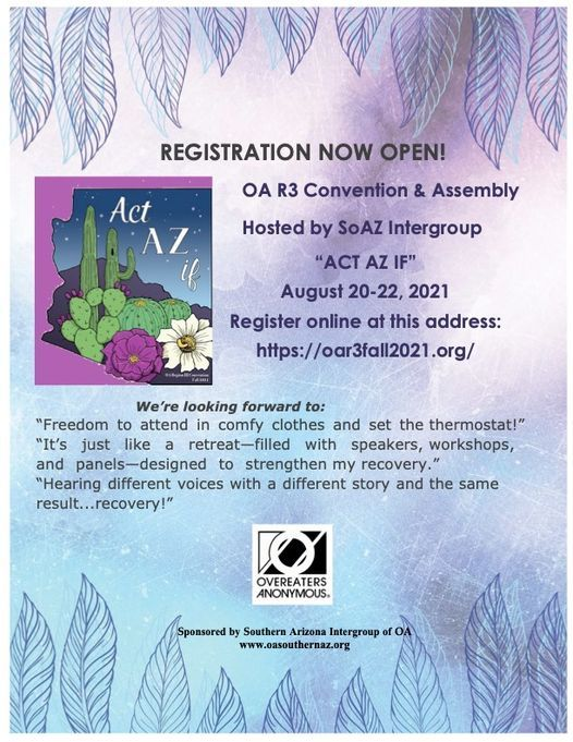 """Region Three Convention and Assembly: """"Act AZ if"""", 20 August   Online Event   AllEvents.in"""
