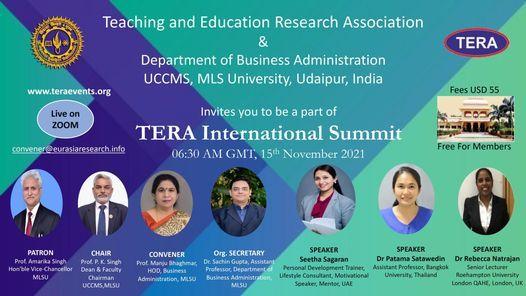 TERA International Summit, 15th November 2021, 15 November | Online Event | AllEvents.in