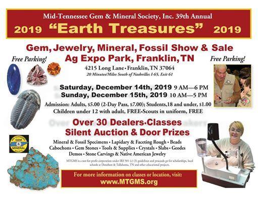 2019 MTGMS  39th Annual Earth Treasures - Gem Mineral Fossil