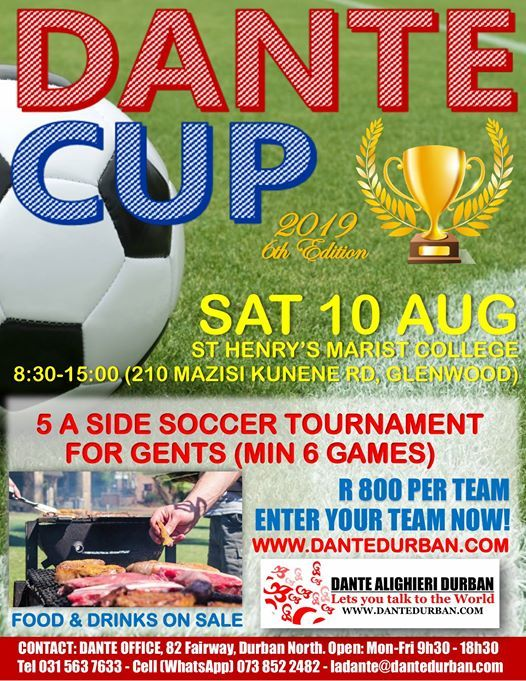 DANTE CUP Five a-side soccer tournament for gents at St