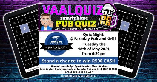 Quiz Night @ Faraday Pub and Grill, 18 May | Event in Vanderbijlpark | AllEvents.in
