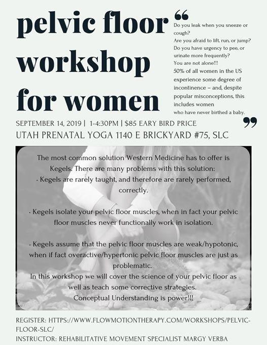 Pelvic Floor Workshop for Women at Utah Prenatal Yoga, Salt