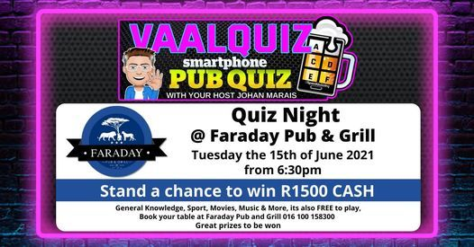 VaalQuiz Quiz Night @ Faraday Pub and Grill   Event in Vanderbijlpark   AllEvents.in