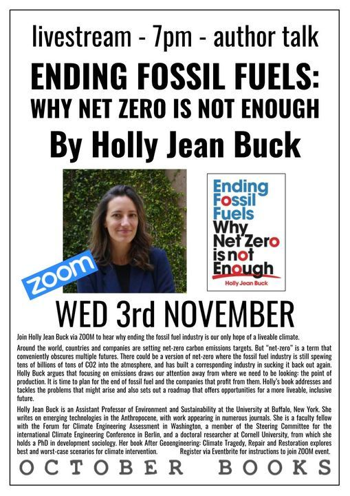 livestream: Ending Fossil Fuels by Holly Jean Buck, 3 November | Online Event | AllEvents.in