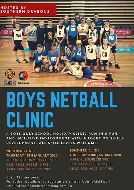 Boys School Holiday Netball Clinic Northern At The Lights