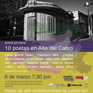 Poesa pal barrio 10 poetas en Alto del Cabro