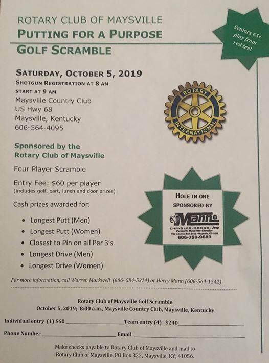 Mann Chrysler Maysville Ky >> Rotary Golf Scramble At Maysville Country Club Maysville