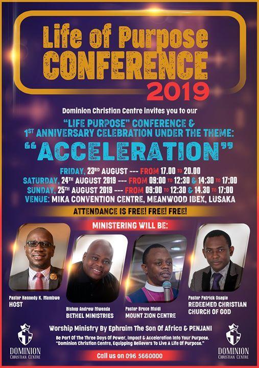 Life of Purpose Conference at Dominion Christian Centre - Zambia