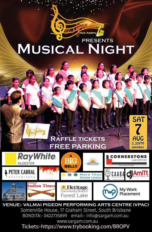 Sargam Music Academy presents a Musical Night, 7 August | Event in West End | AllEvents.in