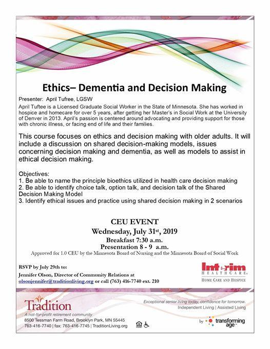 CEU- Ethics: Dementia & Decision Making at Tradition, Brooklyn Park