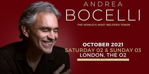 Andrea Bocelli at The O2, 2 October | Event in London | AllEvents.in