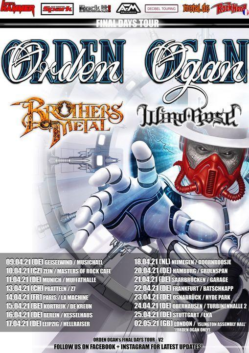 ORDEN OGAN - FINAL DAYS TOUR + Brothers of Metal, Wind Rose - Kortrijk, 15 April | Event in Kortrijk | AllEvents.in