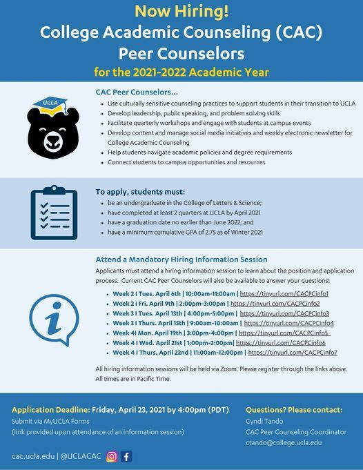 Ucla Academic Calendar 2022.Cac Peer Counseling Hiring Info Session April 15 2021 Online Event Allevents In