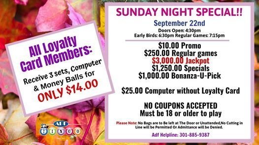 Sunday Night Member Special at ADF Bingo since 1971