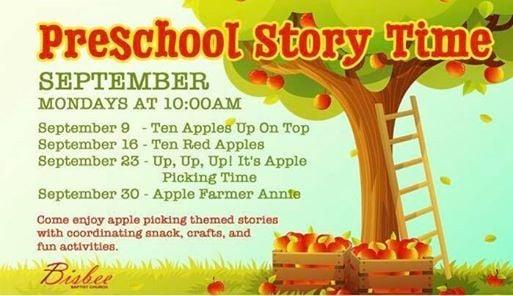 Preschool Story Time at Bisbee Baptist, Mansfield