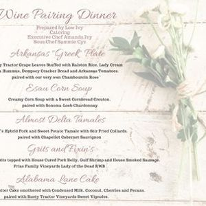 Five Course Wine Pairing Dinner with Low Ivy and Rusty Tractor Vineyards