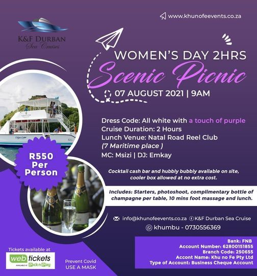 Women's day 2 hours scenic picnic cruise, 7 August | Event in Durban | AllEvents.in