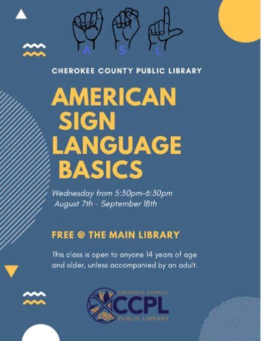 ASL Basics at Cherokee County Public Library, Gaffney