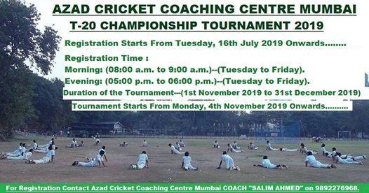 ACCC Mumbai T-20 Championship Tournament 2019-Registration at Azad