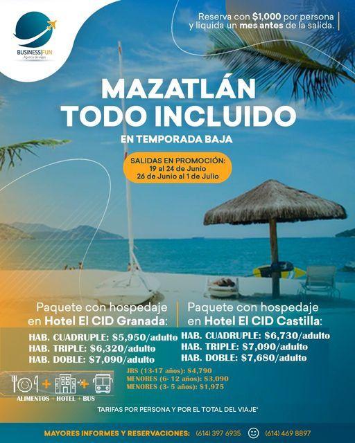 MAZATLÁN TODO INCLUÍDO  (26 jun - 1 jul), 26 June | Event in Chihuahua | AllEvents.in