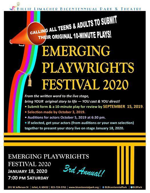 Emerging Playwrights Festival 2020 seeking plays at Billie Limacher