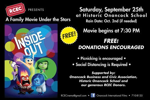 Movie Night Under the Stars: Inside Out | Event in Onancock | AllEvents.in
