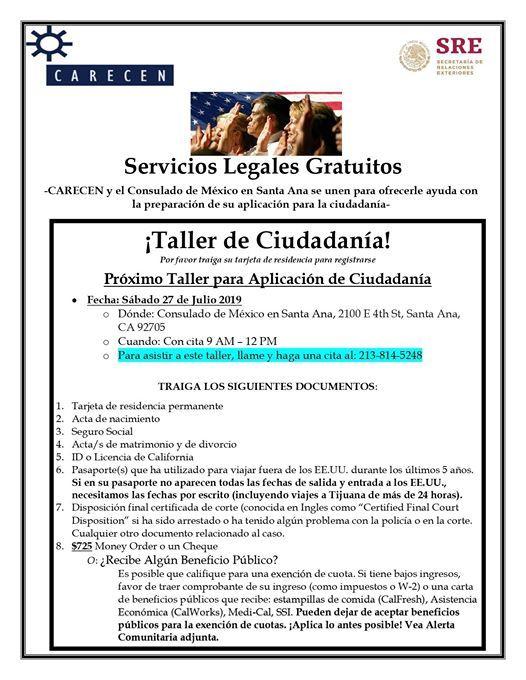 Clínica de llenado de solicitud de Ciudadanía Estadounidense