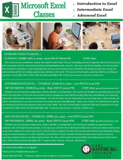 Advanced Excel Class, 20 April   Event in Galesburg   AllEvents.in
