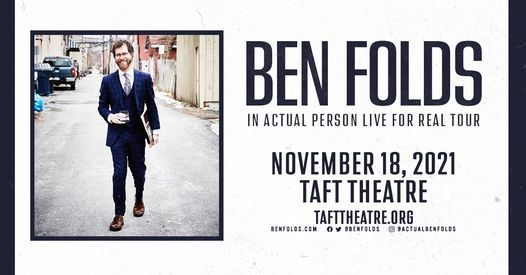 Ben Folds IN ACTUAL PERSON LIVE FOR REAL TOUR, 18 November | Event in Cincinnati | AllEvents.in