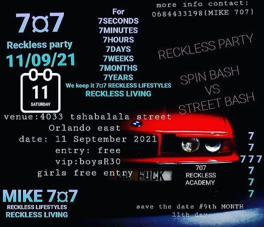 707 RECKLESS PARTY, 11 September | Event in Johannesburg | AllEvents.in