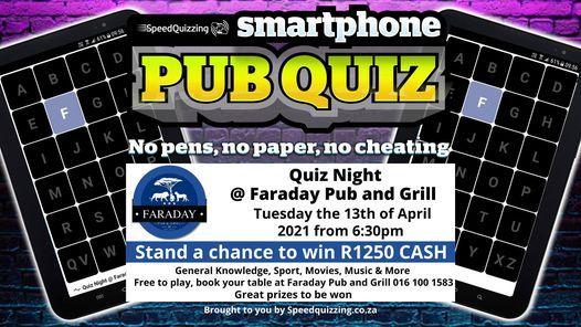 Quiz Night @ Faraday Pub and Grill | Event in Vanderbijlpark | AllEvents.in