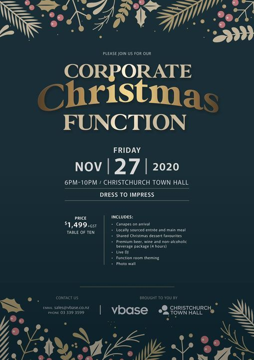 Corporate Christmas Function, 27 November | Event in Christchurch | AllEvents.in