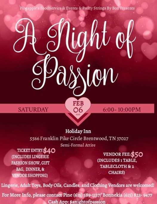 A Night of Passion Fashion Show and Dinner Party, 6 February | Event in Franklin | AllEvents.in