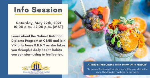 Info Session on the Natural Nutrition Program & Learn 5 Daily Health Habits, 29 May | Event in Edmonton