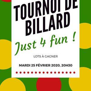 """Tournoi de billard &quotJust 4 fun """""""