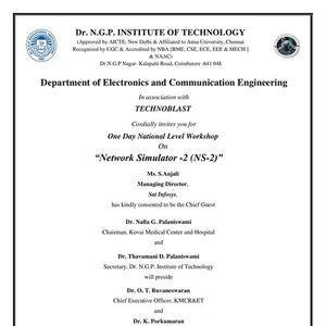 One Day National Level Workshop on Network Simulator -2 (NS-2)